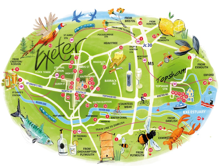 Exeter Food & Drink Trail Map