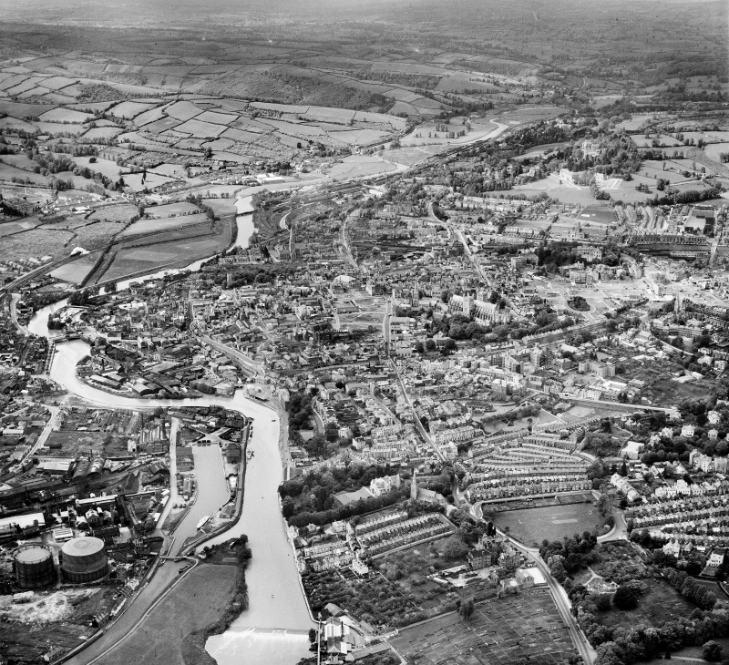 Aerial view of the bomb damage to Exeter (Historic England)