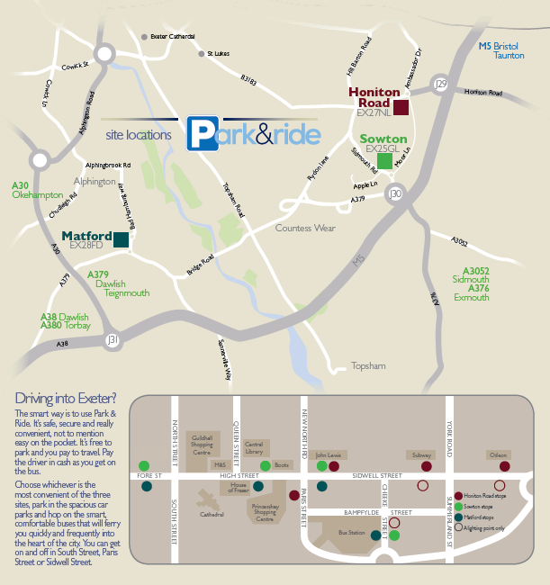 Park & Ride Map in Exeter