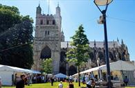 Exeter Craft Festival with Cathedral in the background