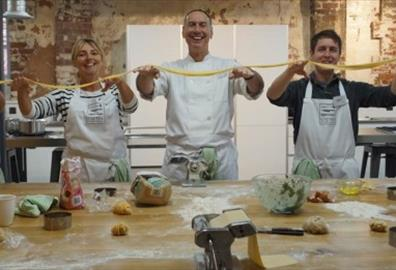 Making pasta at Exeter Cookery School