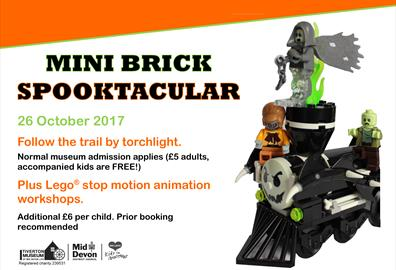 advert for museum at night event on 26 October with a torchlight Mini Brick trail and stop motion animation workshops