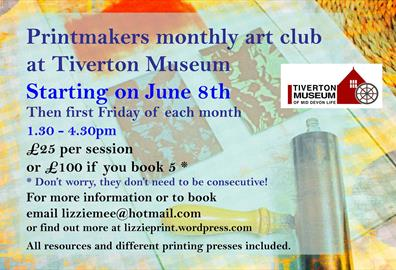 poster for monthly print club at Tiverton Museum
