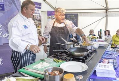 Live cooking demo at Fishstock, Brixham