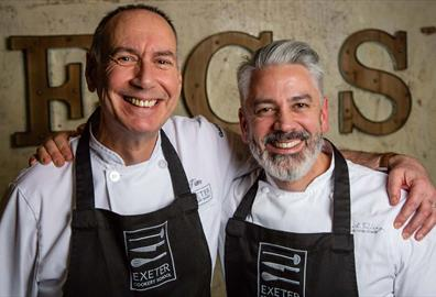 Jim Fisher, Head Chef / Tutor and Co-owner of Exeter Cookery School with TV Chef and Award-winning chocolatier Mark Tilling