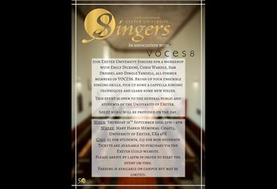 Exeter University Singers Workshop Poster