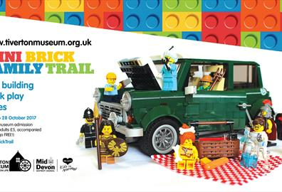 Poster for Tiverton Museum's Mini Brick Family Trail with Lego model of a Mini Cooper