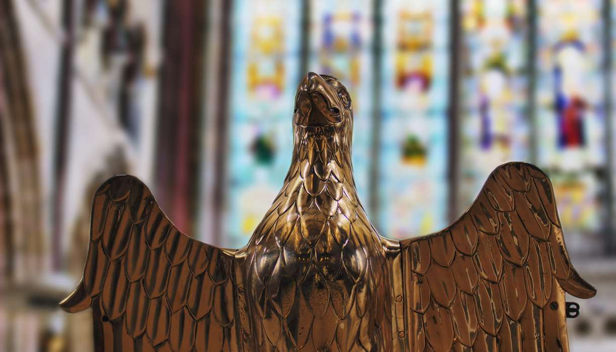An eagle lectern inside Exeter Cathedral